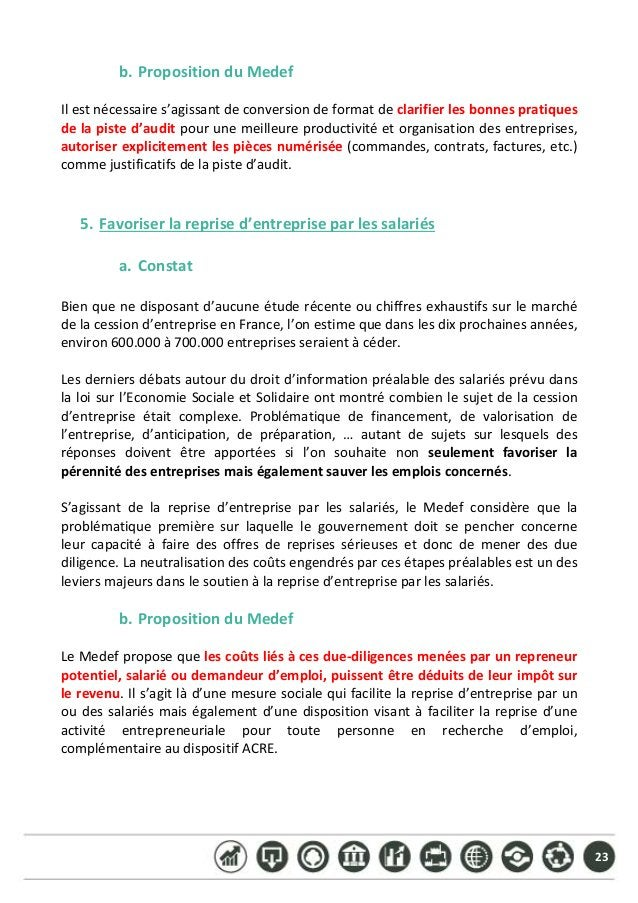 23 b. PropositionduMedef  Ilestnécessaires'agissantdeconversiondeformatdeclarifierlesbonnespratiques de...