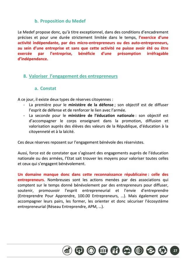 27 b. PropositionduMedef  LeMedefproposedonc,qu'àtitreexceptionnel,dansdesconditionsd'encadrement précises...