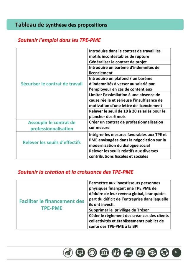 4 Tableaudesynthèsedespropositions    Soutenirl'emploidanslesTPE‐PME  Sécuriserlecontratdetravail ...