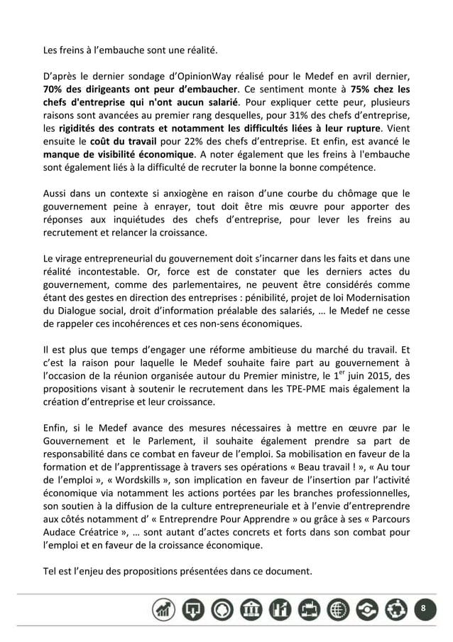 8 Lesfreinsàl'embauchesontuneréalité.  D'après le dernier sondage d'OpinionWay réalisé pour le Medef en ...