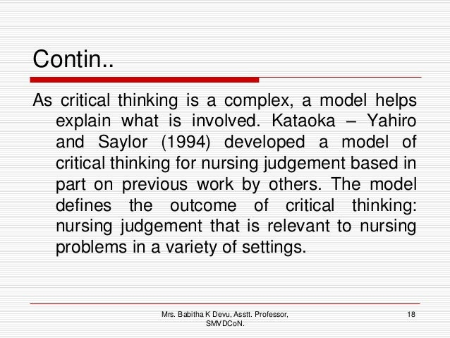 Critical thinking model nursing