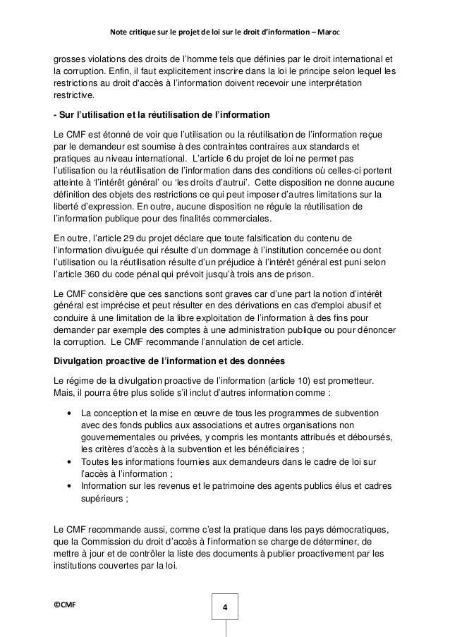 Note Critique Du Projet De Loi Sur Le Droit D Accès à L