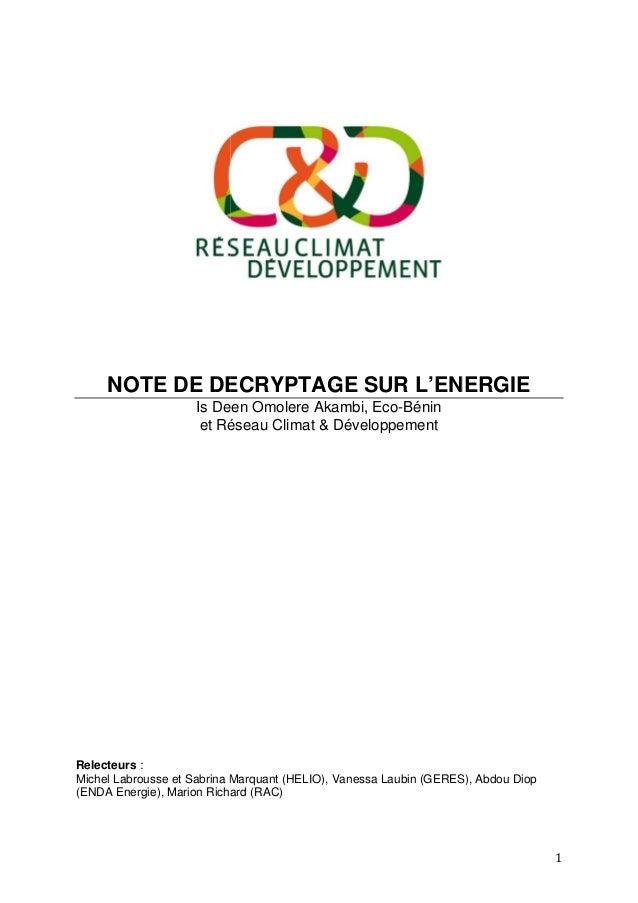 NOTE DE DECRYPTAGE SUR Is Deen Omolere Akambi et Réseau Climat & Développement Relecteurs : Michel Labrousse et Sabrina Ma...