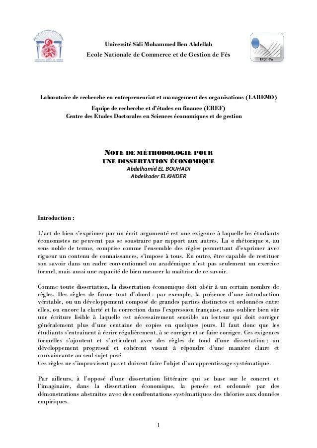 dissertation economique methode
