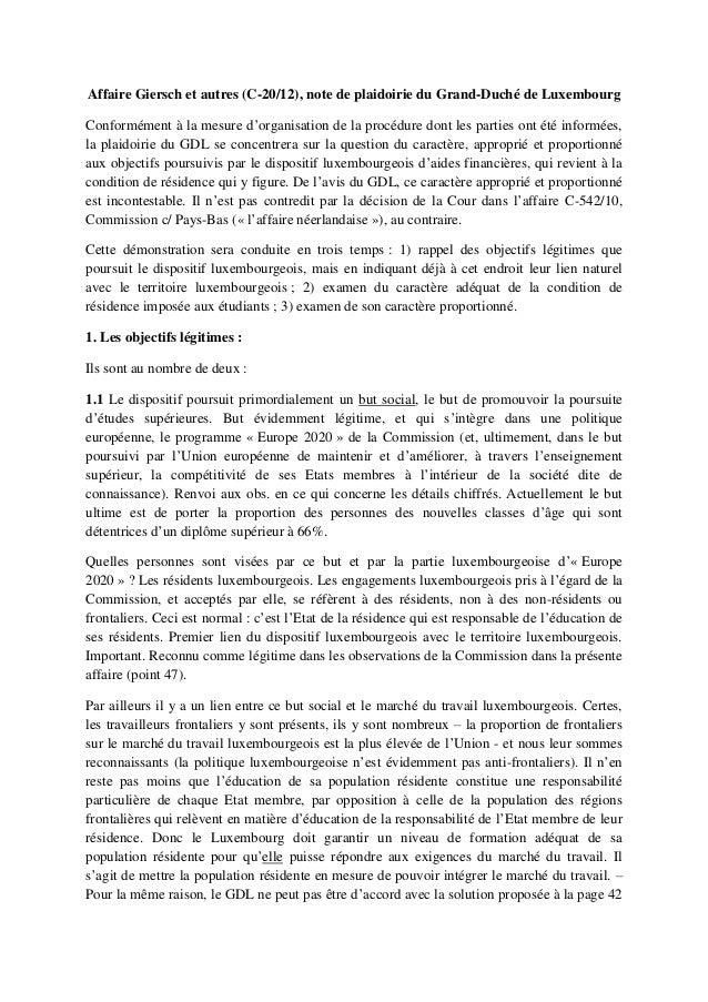 Affaire Giersch et autres (C-20/12), note de plaidoirie du Grand-Duché de LuxembourgConformément à la mesure d'organisatio...