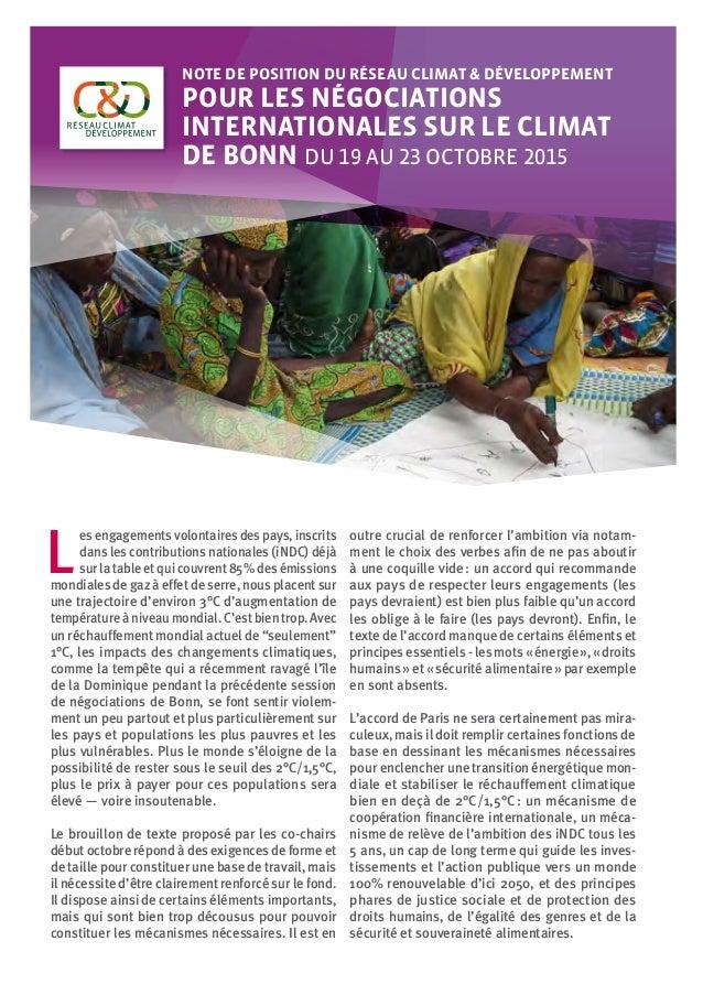 ©DEMI-ENiger Note de position du Réseau Climat & Développement pour les négociations internationales sur le climat de Bon...