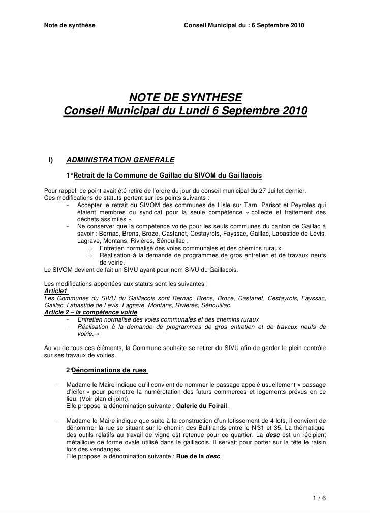 Note de synthèse                                      Conseil Municipal du : 6 Septembre 2010                          NOT...