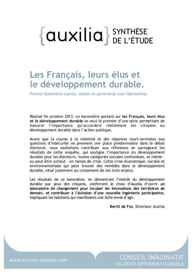 SYNTHÈSE DE L'ÉTUDE  Les Français, leurs élus et le développement durable. Premier Baromètre Auxilia, réalisé en partenari...