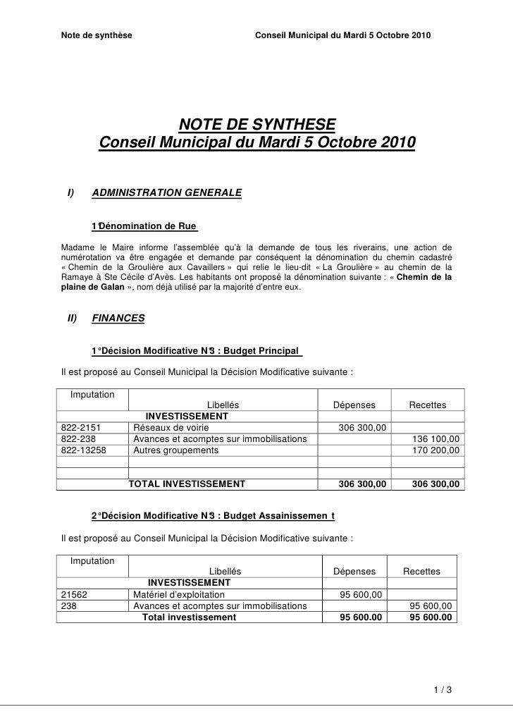 Note de synthèse du conseil municipal du 5 octobre 2010