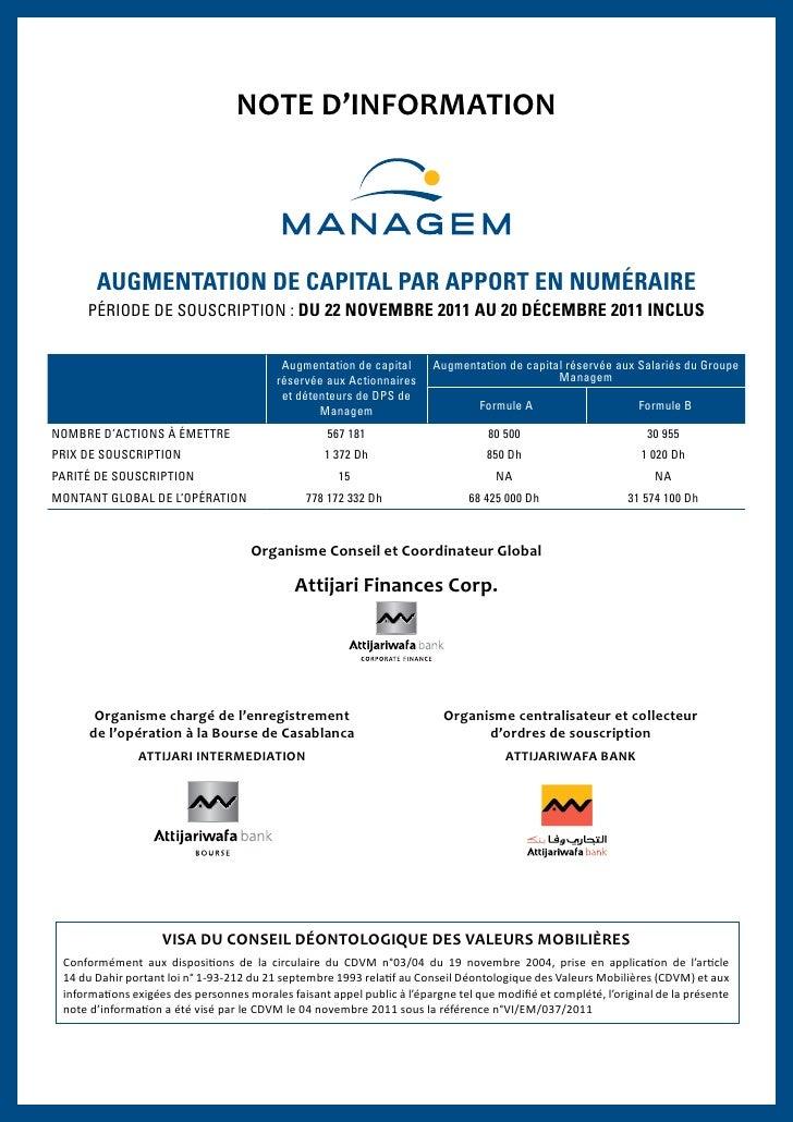 NOTE D'INFORMATION       AUGMENTATION DE CAPITAL PAR APPORT EN NUMÉRAIRE     PÉRIODE DE SOUSCRIPTION : DU 22 NOVEMBRE 2011...