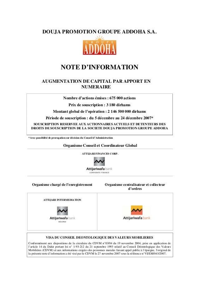 DOUJA PROMOTION GROUPE ADDOHA S.A.NOTE D'INFORMATIONAUGMENTATION DE CAPITAL PAR APPORT ENNUMERAIRENombre d'actions émises ...