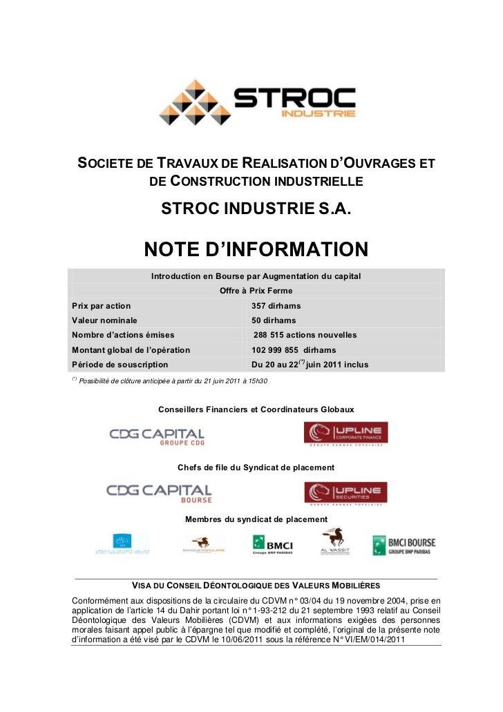 SOCIETE DE TRAVAUX DE REALISATION D'OUVRAGES ET               DE CONSTRUCTION INDUSTRIELLE                                ...