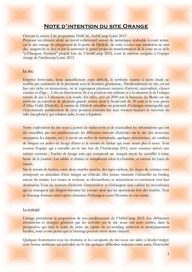 1 Note d'intention du site Orange Ouvrant la saison 2 du programme HubCité, ArchiCamp Lomé 2013 Proposer un élément dédié ...
