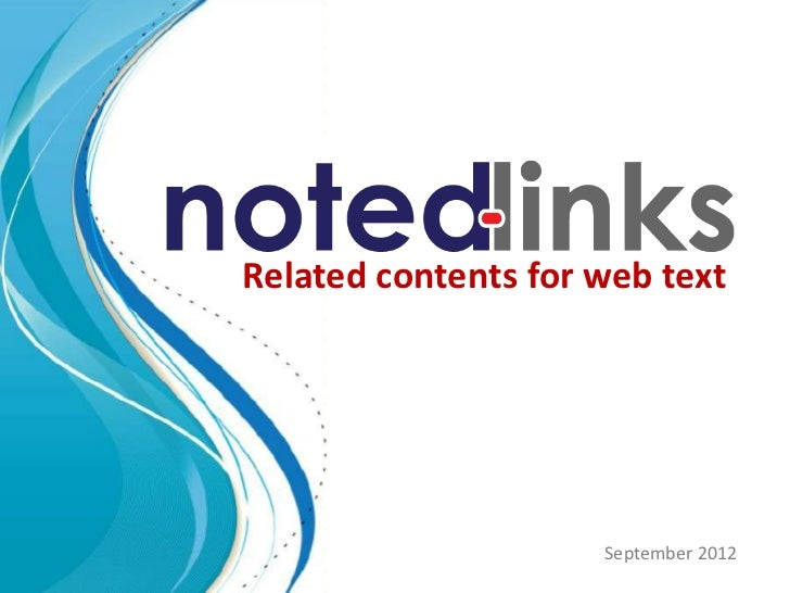 Related contents for web text                     September 2012