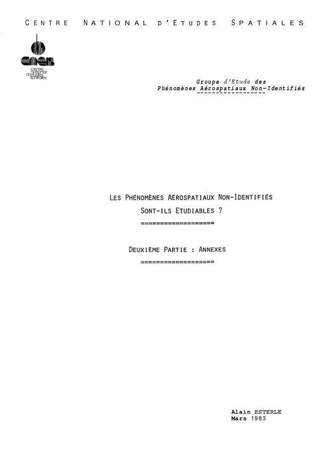 C E N T R E N A T I O N A L DIETUDES S P A T I A L E S  Groupe dfEtude des  Phénomènes Aérospatiaux Non-Identifiés -------...