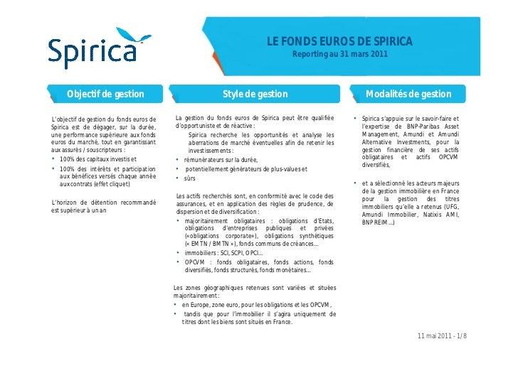 LE FONDS EUROS DE SPIRICA                                                                                    Reporting au ...