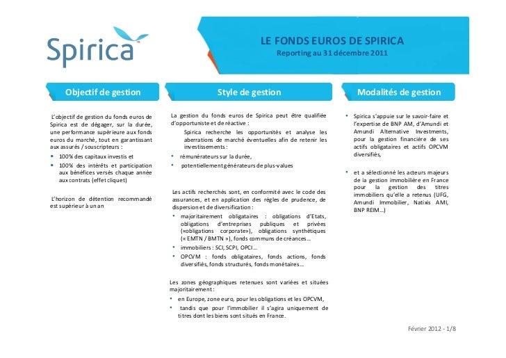 LE FONDS EUROS DE SPIRICA                                                                                 Reporting au 31 ...