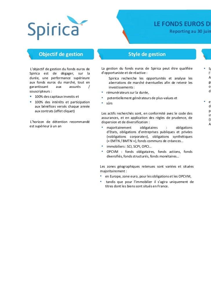 LE FONDS EUROS DE SPIRICA                                                                                       Reporting ...