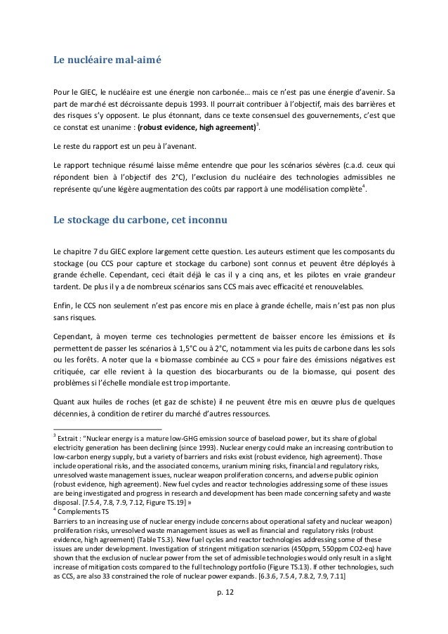 p.  12      Le  nucléaire  mal-‐aimé      Pour  le  GIEC,  le  nucléaire  est  une  éne...
