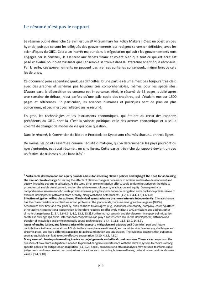 p.  5      Le  résumé  n'est  pas  le  rapport      Le  résumé  publié  dimanche  13  ...