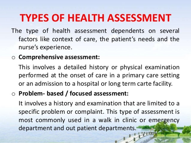 Note on Health assessment - 1