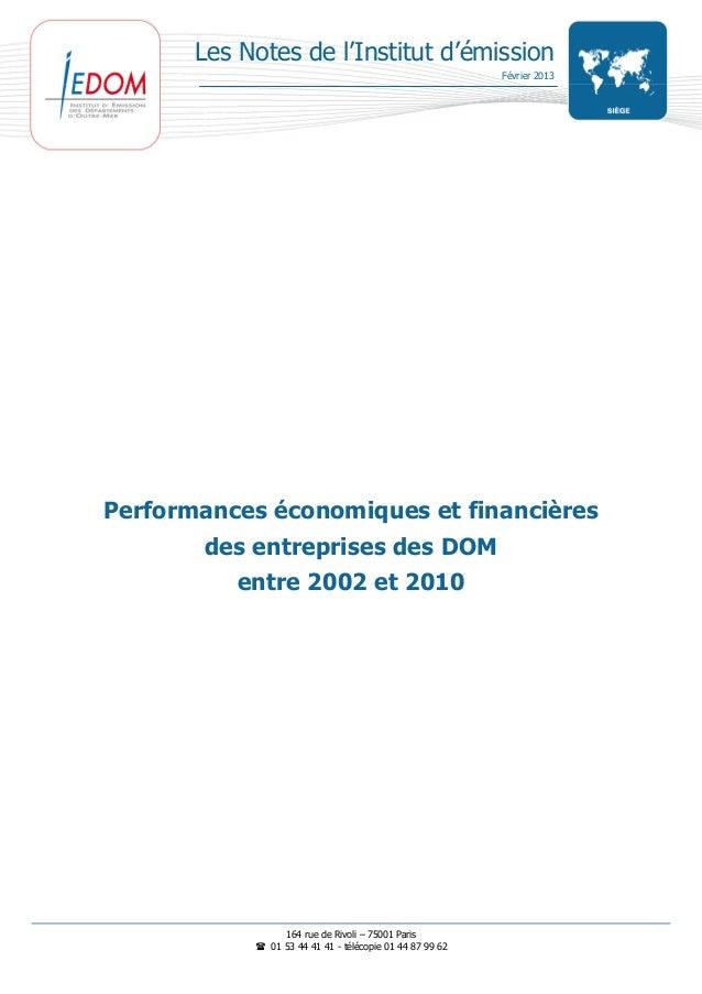 Les Notes de l'Institut d'émission                                                          Février 2013Performances écono...