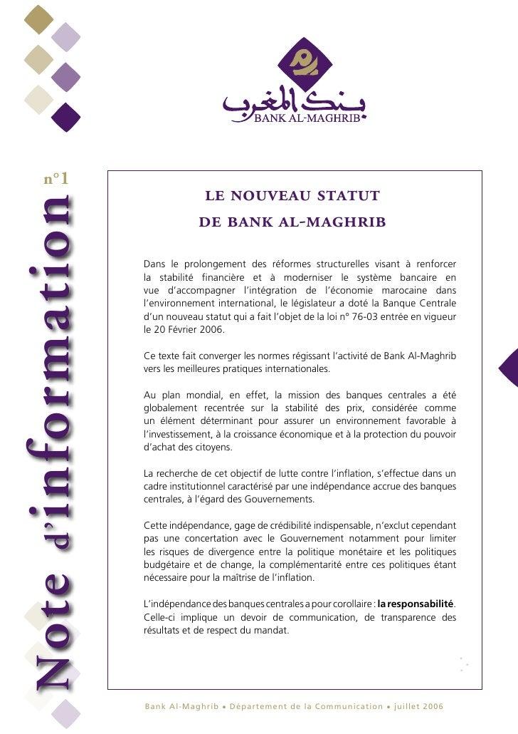 n°1                            le nouveau statutinformation                           de bank al-maghrib              Dans...