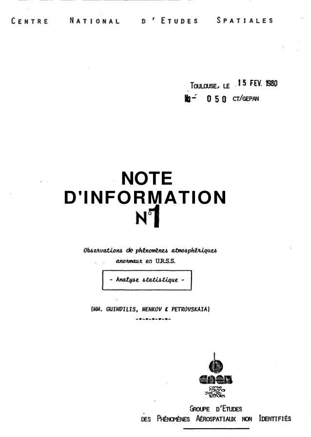NOTE  D'INFORMATION NT  Obe/tuationb de pClénorn2neb atmo4phiMqu~  . . anohmaux en U.R.S.S.