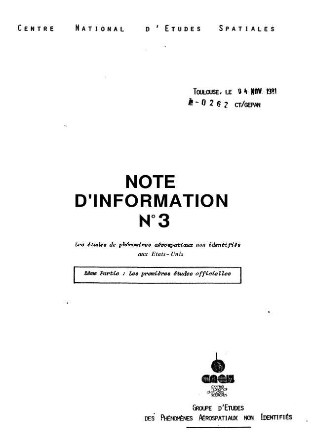 NOTE  D'INFORMATION  Lee dtudes de phdnomknes akrospatiaux non identifiks  aux Etats-Unis