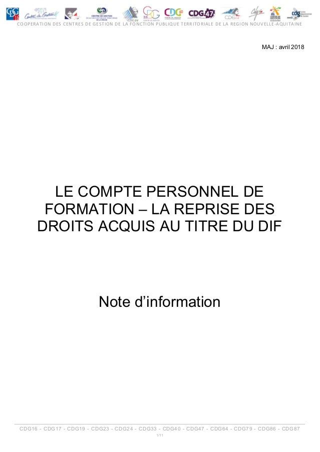 Note Information Le Cpf Reprise Dif Cdg 24