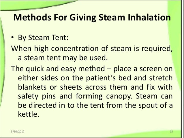 ... 15. Methods For Giving Steam Inhalation ...  sc 1 st  SlideShare & Babithau0027s Note On Inhalations: Its Types