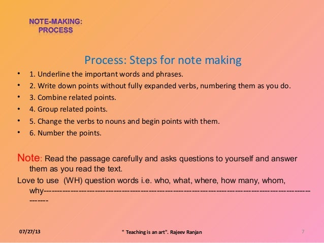 how to write note making