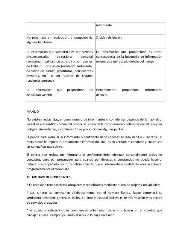 manejo de informantes y confidentes pdf