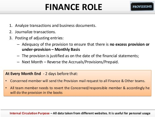 FINANCE ROLE 1. Analyze transactions and business documents. 2. Journalize transactions. 3. Posting of adjusting entries: ...