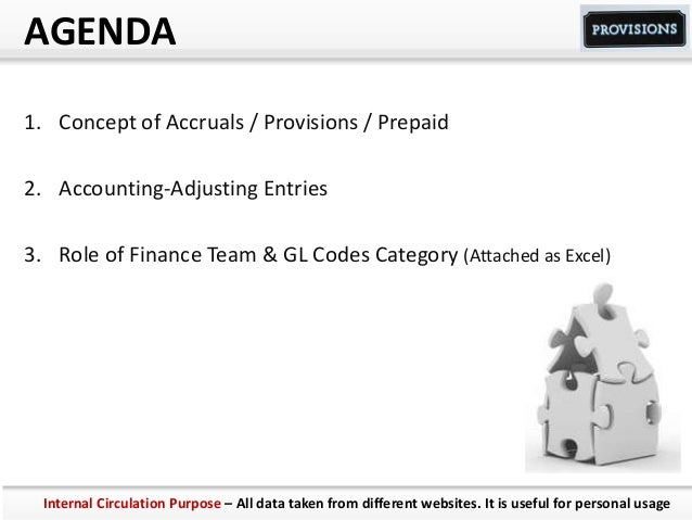 AGENDA 1. Concept of Accruals / Provisions / Prepaid 2. Accounting-Adjusting Entries 3. Role of Finance Team & GL Codes Ca...