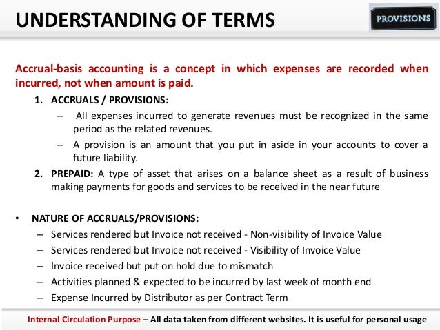 UNDERSTANDING OF TERMS Accrual-basis accounting is a concept in which expenses are recorded when incurred, not when amount...