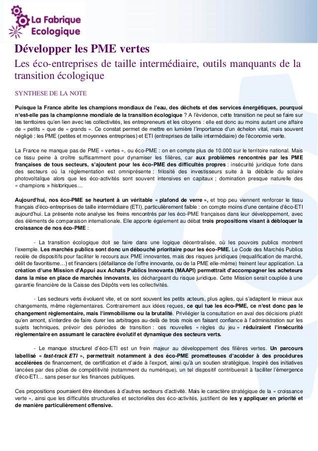 1  Développer les PME vertes  Les éco-entreprises de taille intermédiaire, outils manquants de la transition écologique  S...