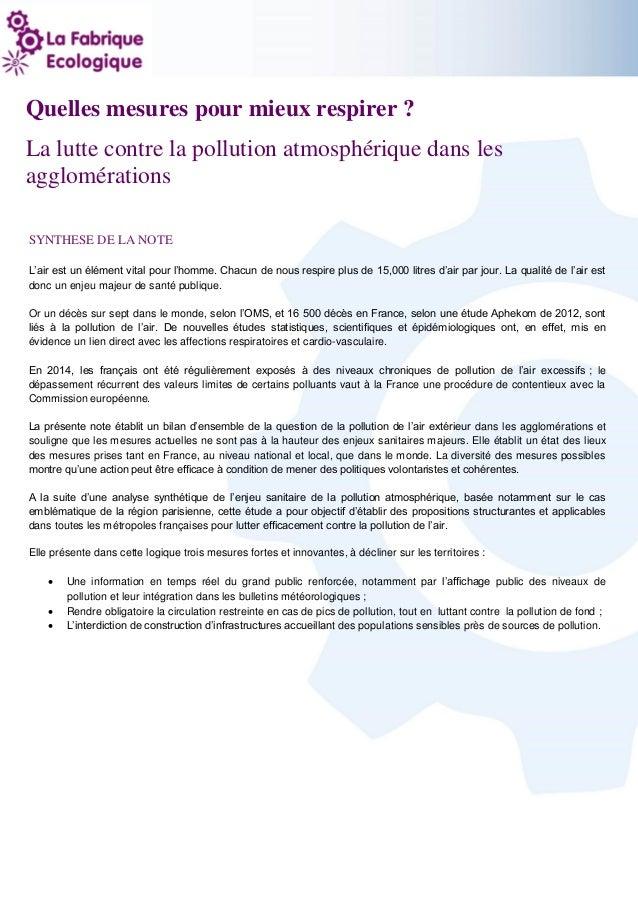 1 Quelles mesures pour mieux respirer ? La lutte contre la pollution atmosphérique dans les agglomérations SYNTHESE DE LA ...