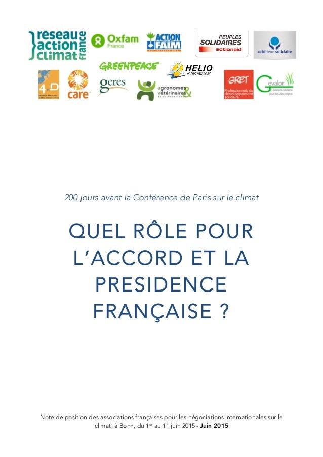 Note de position des associations françaises pour les négociations internationales sur le climat, à Bonn, du 1er au 11 jui...