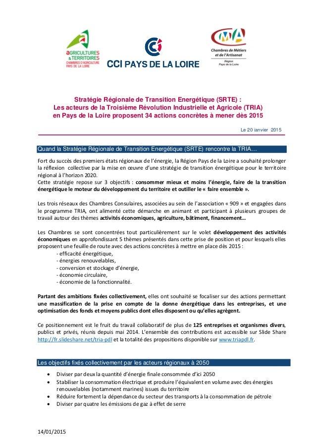14/01/2015 Le 20 janvier 2015 Stratégie Régionale de Transition Energétique (SRTE) : Les acteurs de la Troisième Révolutio...