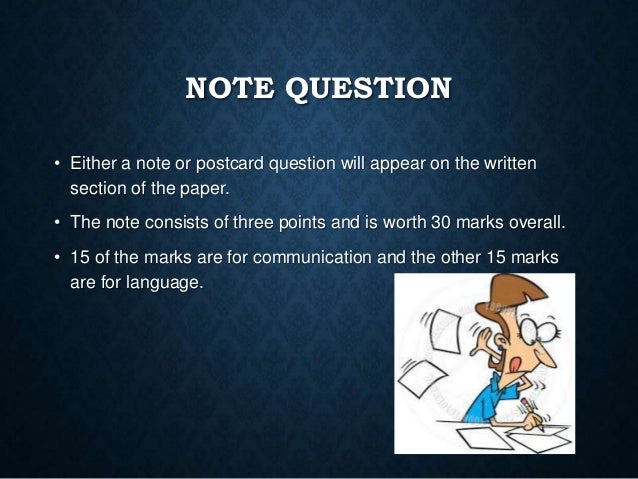 Note Question Junior Cert