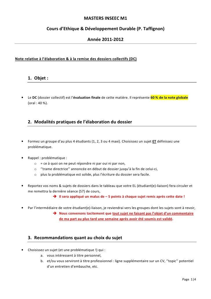 MASTERS INSEEC M1                   Cours d'Ethique & Développement Durable (P. Taffignon)                                ...