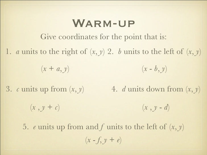 Warm-up            Give coordinates for the point that is: 1. a units to the right of (x, y) 2. b units to the left of (x,...