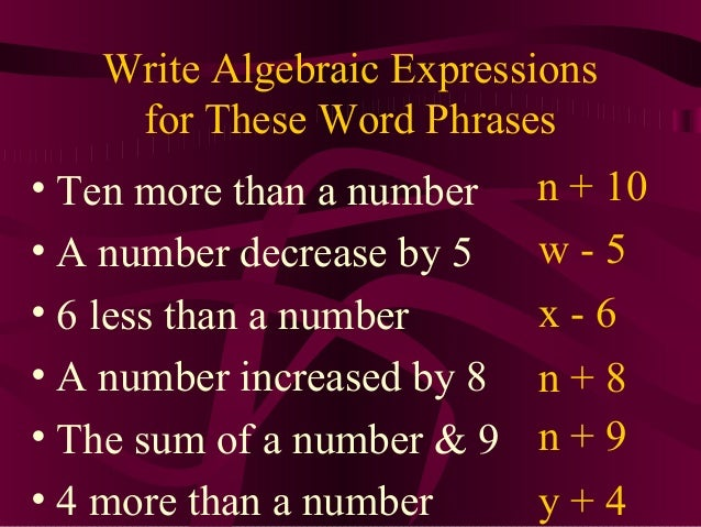 What is the algebraic expression for