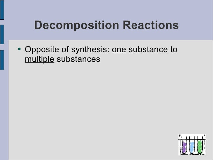 Types Of Reactions Decomposition And Single Replacement