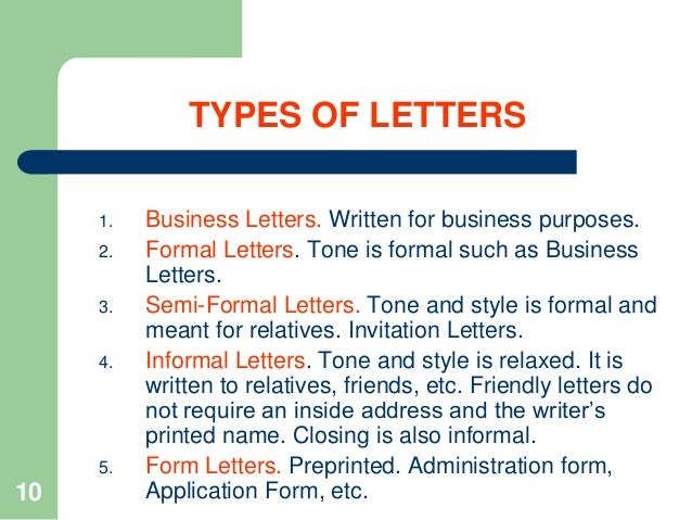 Type Of Letters Writing Notes How To Write Business Letters