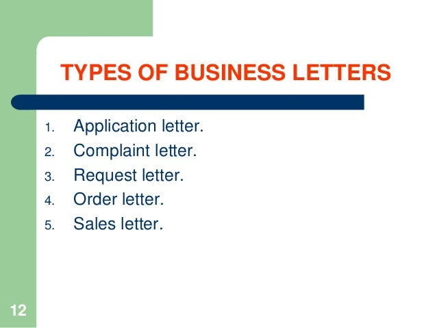 12 TYPES OF BUSINESS LETTERS