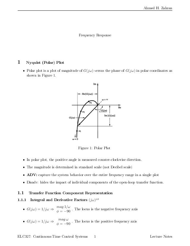 Notes Nyquist Plot And Stability Criteria