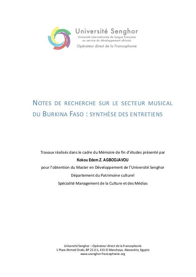 NOTES DE RECHERCHE SUR LE SECTEUR MUSICAL DU B URKINA FASO : SYNTHÈSE DES ENTRETIENS  Travaux réalisés dans le cadre du Mé...