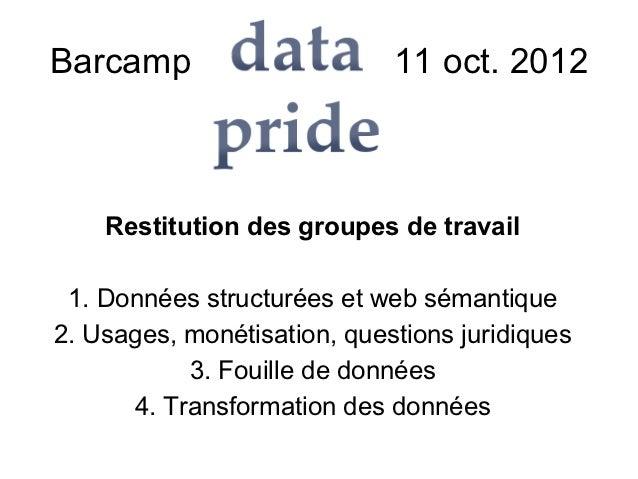 Barcamp Datapride – 11 oct. 2012    Restitution des groupes de travail 1. Données structurées et web sémantique2. Usages, ...
